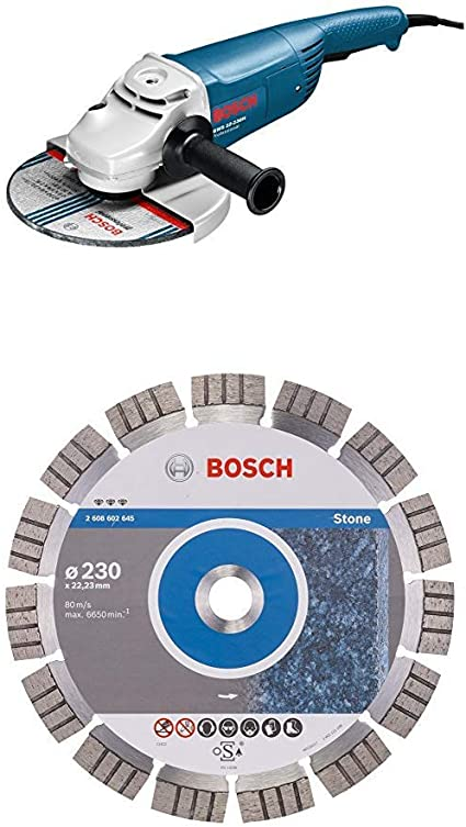 Bosch Professional GWS 22-230 H Corded 240 V Angle Grinder with Bosch Diamond Cutting Disc for Stone 230 x 22.23 x 2.4 mm