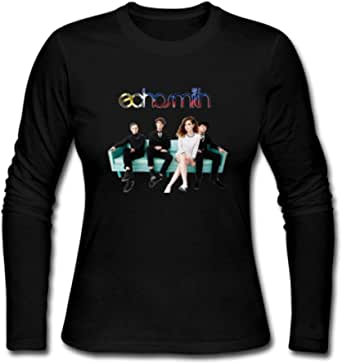 Duanfu DIY Echosmith Women's Long Sleeve Tops Sweatshirt Loose Cotton Crew Neck T-Shirt