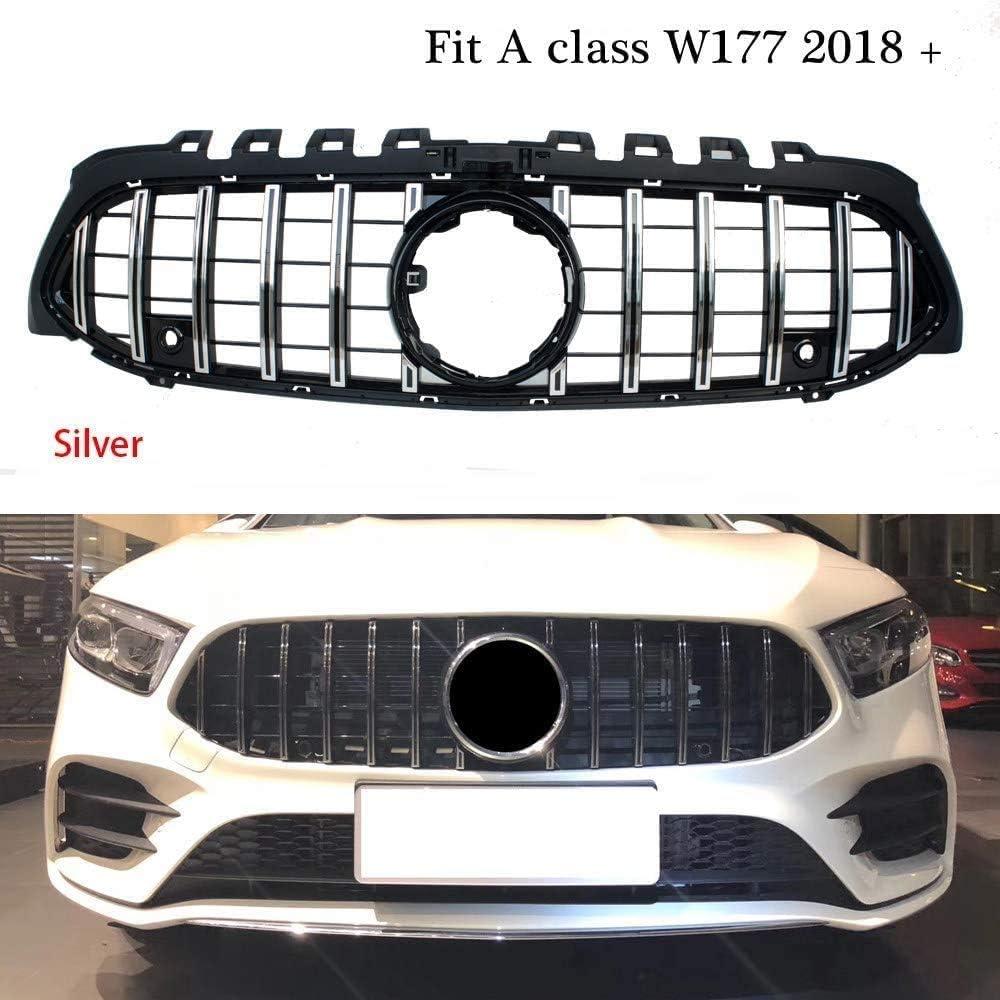 Plateado Negro Plateado YBNB Abs Parrilla Delantera de Carreras Amg Grille para Mercedes A-Class W177 A180 A200 A250 A45 Amg 2018-2020