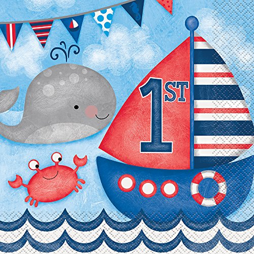 Nautical Boys 1st Birthday Party Napkins, 16ct 1st Birthday Lunch Napkins