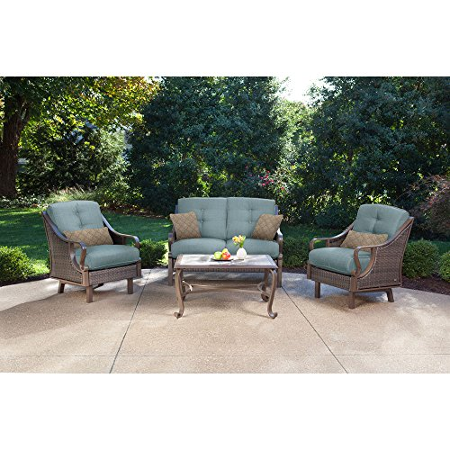 Hanover Ventura Patio Set (4-Piece) Ocean Blue VENTURA4PC-BLU