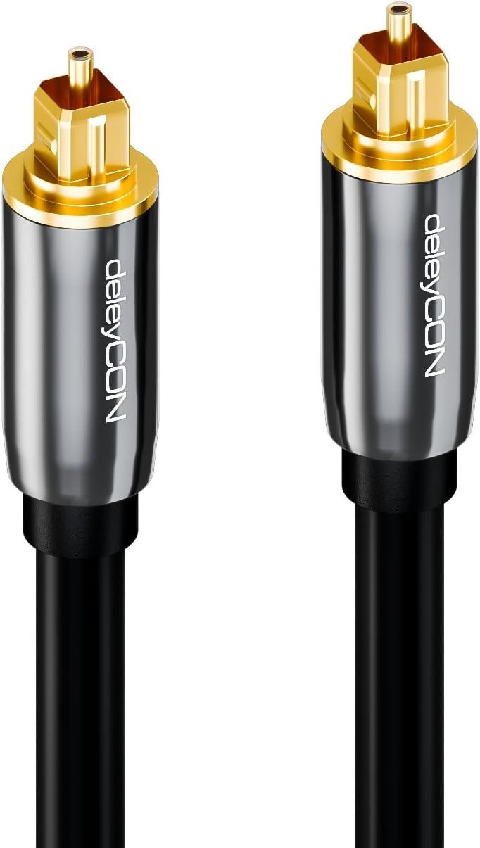 Nero S//PDIF 2x Toslink spina 10m LWL cavo in fibra ottica 5mm flessibile Cavo audio ottico digitale deleyCON spina in metallo