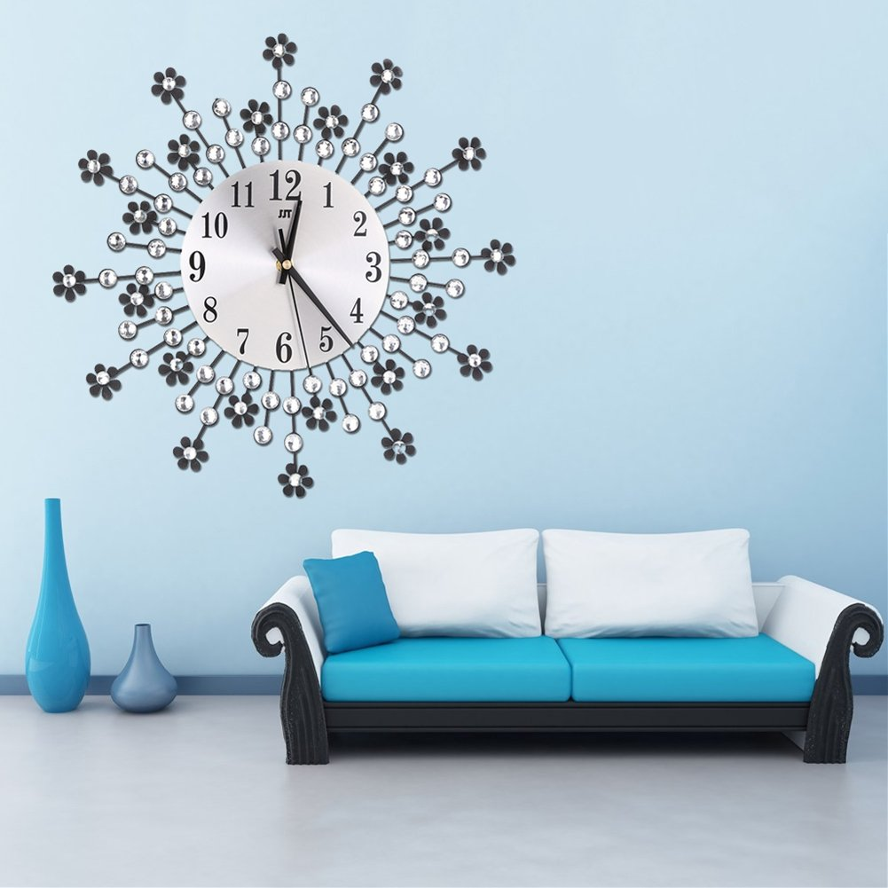 Amazon.com: Whitelotous -Metal Inlaid Diamond Flower Design -Battery Clock- Non-Ticking Digital Decorative Wall Clock -Living Room Bedroom: Home & Kitchen