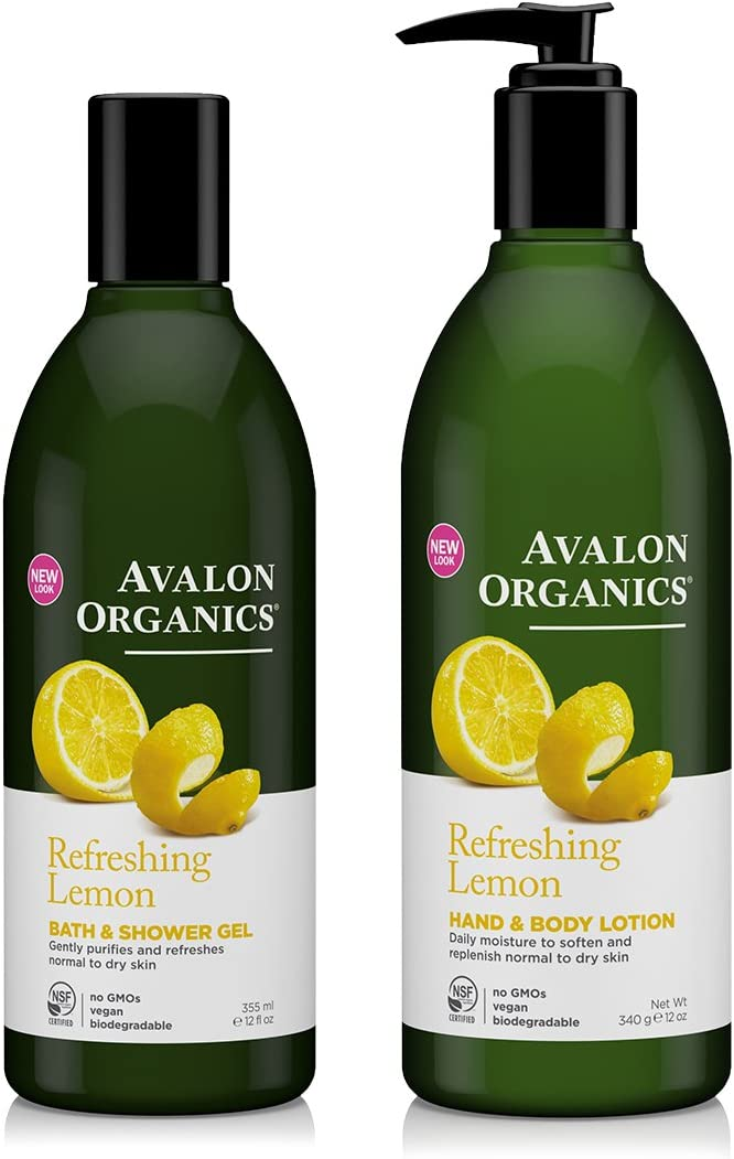 Avalon Organics refrescante limón Gel de Baño y Ducha y Bundle ...