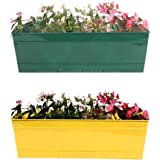 Trust Basket Rectangular Railing Planter (18-inch, Green and Yellow, Pack of 2)