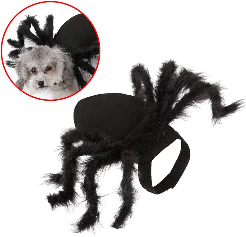 C αγάπη Ζ Ropa de araña de Mascotas para Halloween Disfraz de Perro araña Perro Gato simulación Felpa arañas Vestir Peluca para Mascotas Ropa para Fiesta de Halloween Piernas de araña peludas
