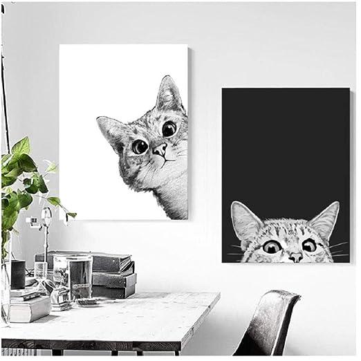Póster de gatos blancos y negros con estilo nórdico, para pared ...