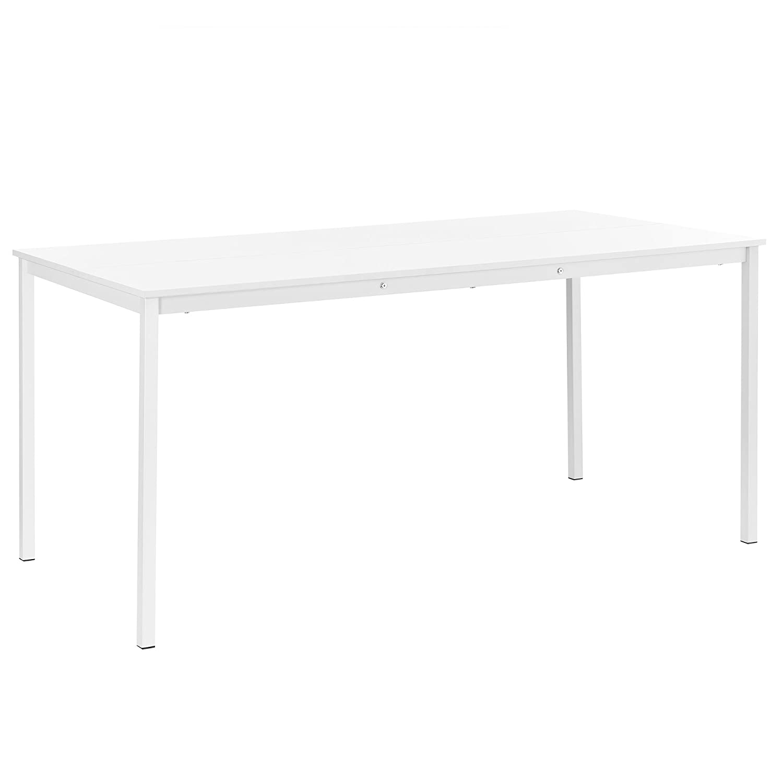 [en.CASA] Table à Manger Salle à Manger Table de Cuisine 120cm x 60cm x 75cm MDF et Acier Blanc