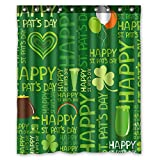 #9: Clover Heart Drink Balloon Happy St.Patrick's Day Waterproof Fabric Polyester Shower Curtain Size 60x72 inches