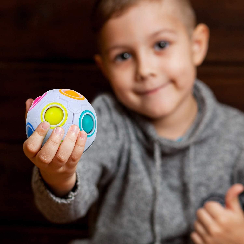 Magic Rainbow Ball,Boule Magique Puzzle Cube Rolling 3D Magique Puzzle Cube en Plastique /Éducatif Cube pour Enfants Adultes Adolescents Stress Reliever Cadeau7CM
