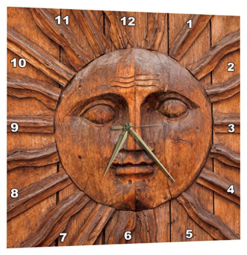 3dRose Mexico, San Miguel De Allende. Sun Carving on Doorway. - Wall Clock, 10 by 10-Inch - Face Sun Clock Wall
