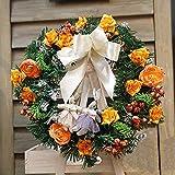 YJYDADA 30cm Christmas Large Wreath Door Wall Ornament Garland Decoration White Bowknot