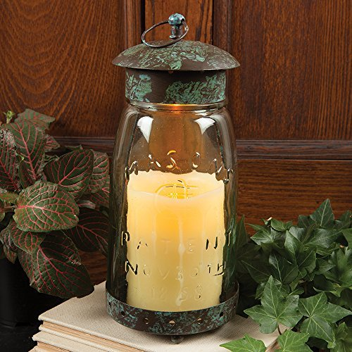 Colonial Tin Works Mason Jar Candle Lantern,Green (Candle Jar Hurricane)