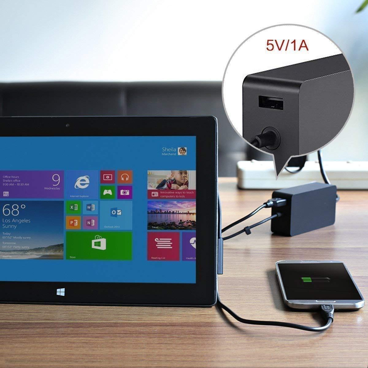 Surface Pro 6//5//4 Chargeur,lAdaptateur dalimentation 44W 15V 2.58A pour Microsoft Surface Pro 6 Surface Pro 5//4//3 Model 1796 avec Un Port USB et Un Cordon dextension d/'Alimentation