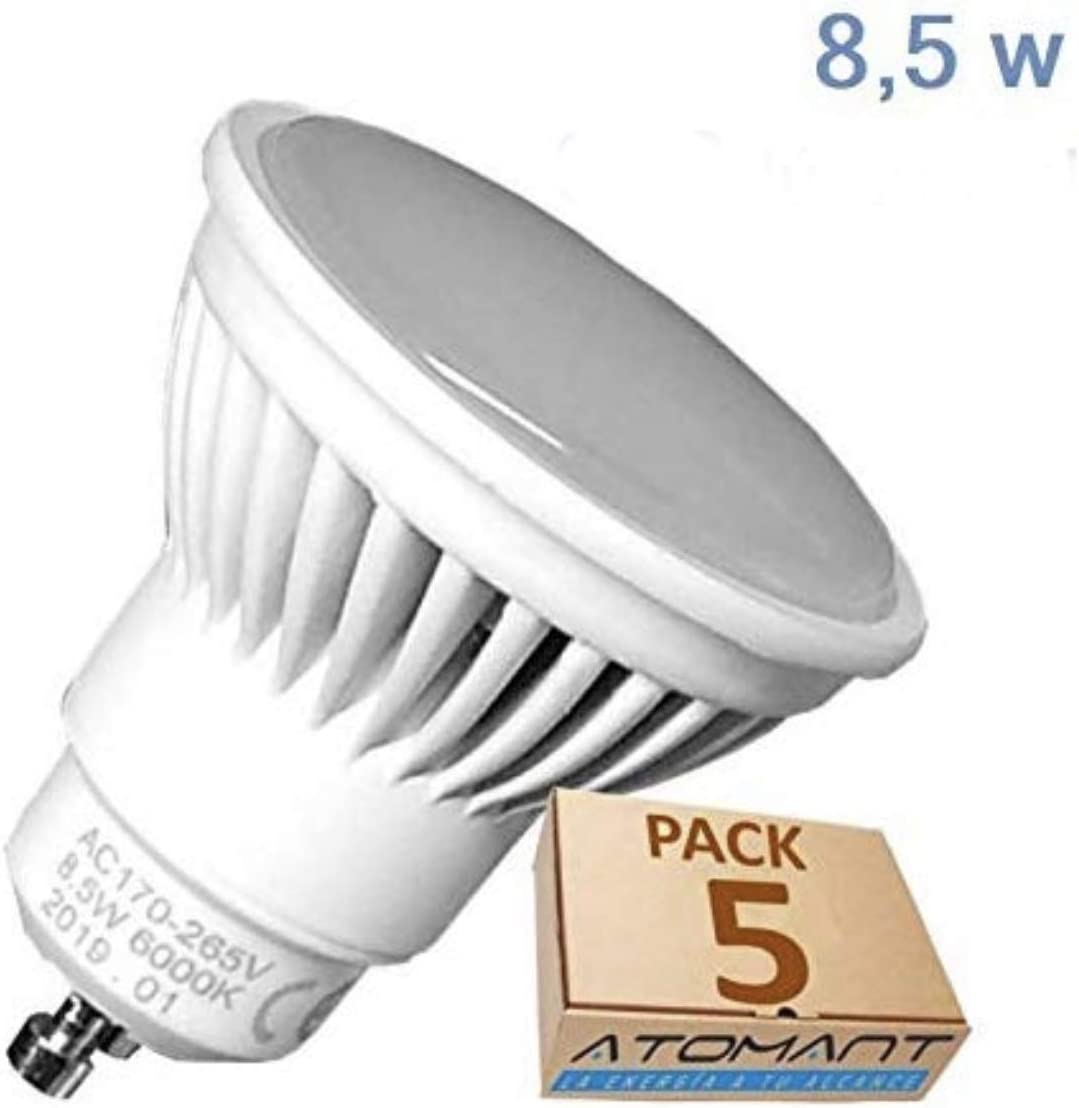 Pack 5x GU10 LED 8,5w Potentisima. Color Blanco Frío (6500K). 970 Lumenes. Única con ángulo de 120 grados. A++