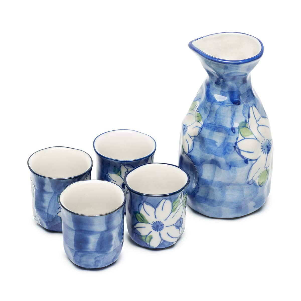 KBNI Ceramic Sake Set Hand Painting Jasmine Flower Traditional Blue and White Porcelain include 1PC Sake Bottle 7.6oz and 4PC Sake Cups 1.7oz