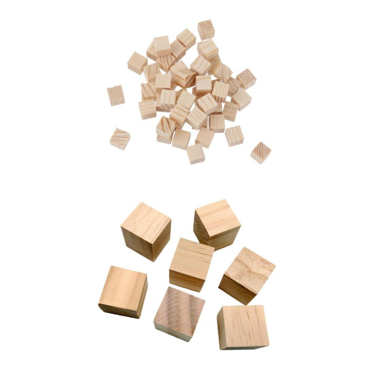 50 PIECES Natural Wooden Squre Mini Cubes Embellishment for Craft 10x10x10mm