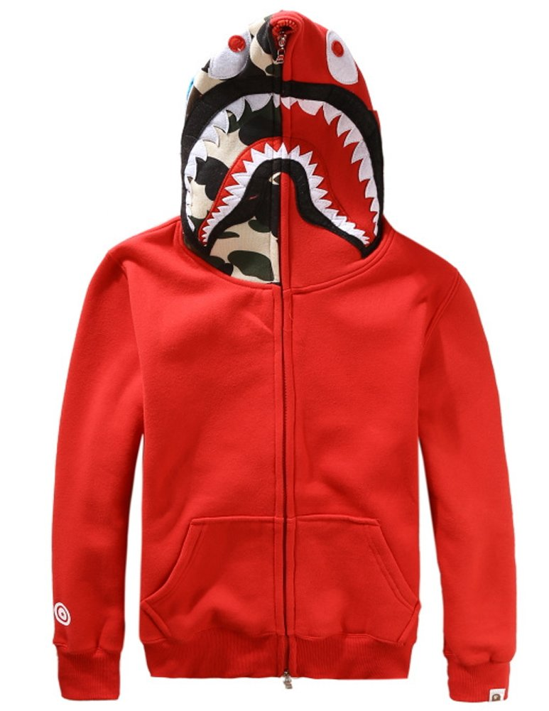 Christo Mens Hoodies Sweatshirt Fashion Casual Coat Outdoor Hip-Hop Funny Tops (X-Small, Classic-Red)