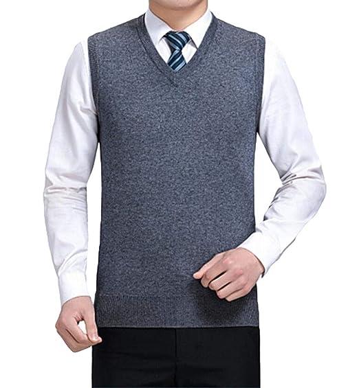 cfe5c1f1e462 Männer Stricken Weste V-Ausschnitt Pullover Pullover warme Weste (Farbe    Gray, größe