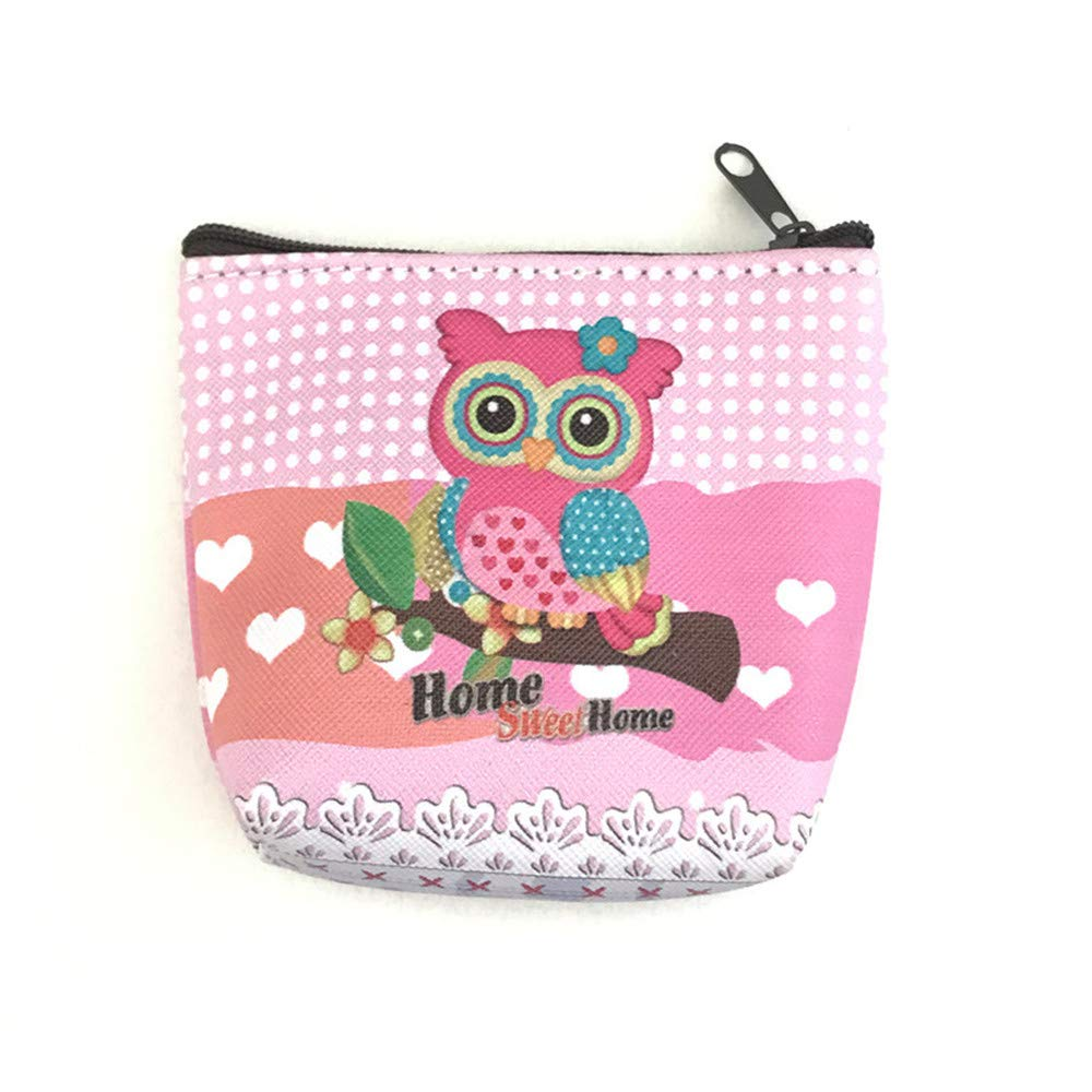 LiPing Women's Fashion Simple Retro Owl Printing Short Coin Purse Card Holders Handbag New Organizer Storage Bags Reusable Moving (B)