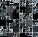 USA Premium Store 10SF-Black Polish & Matte Square Pattern Crackle Glass Mosaic Tile Backsplash