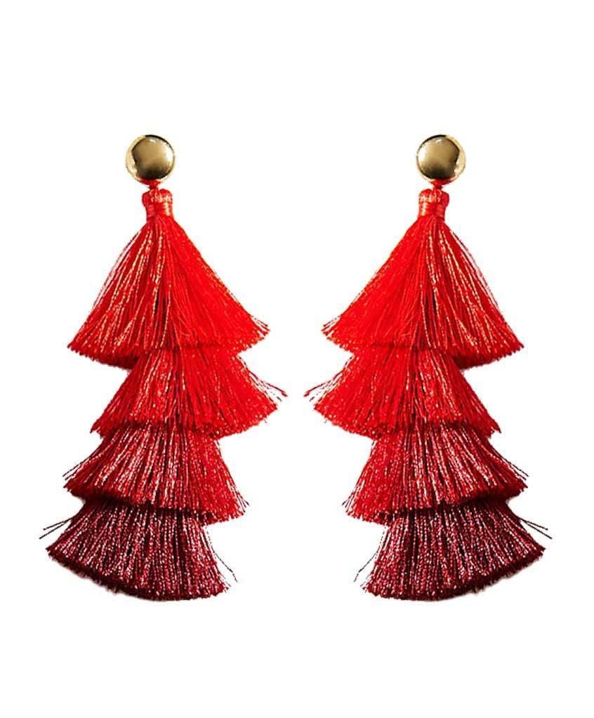Deepa by Deepa Gurnani Cotton Tiered Tassel Drop Earrings (Red)