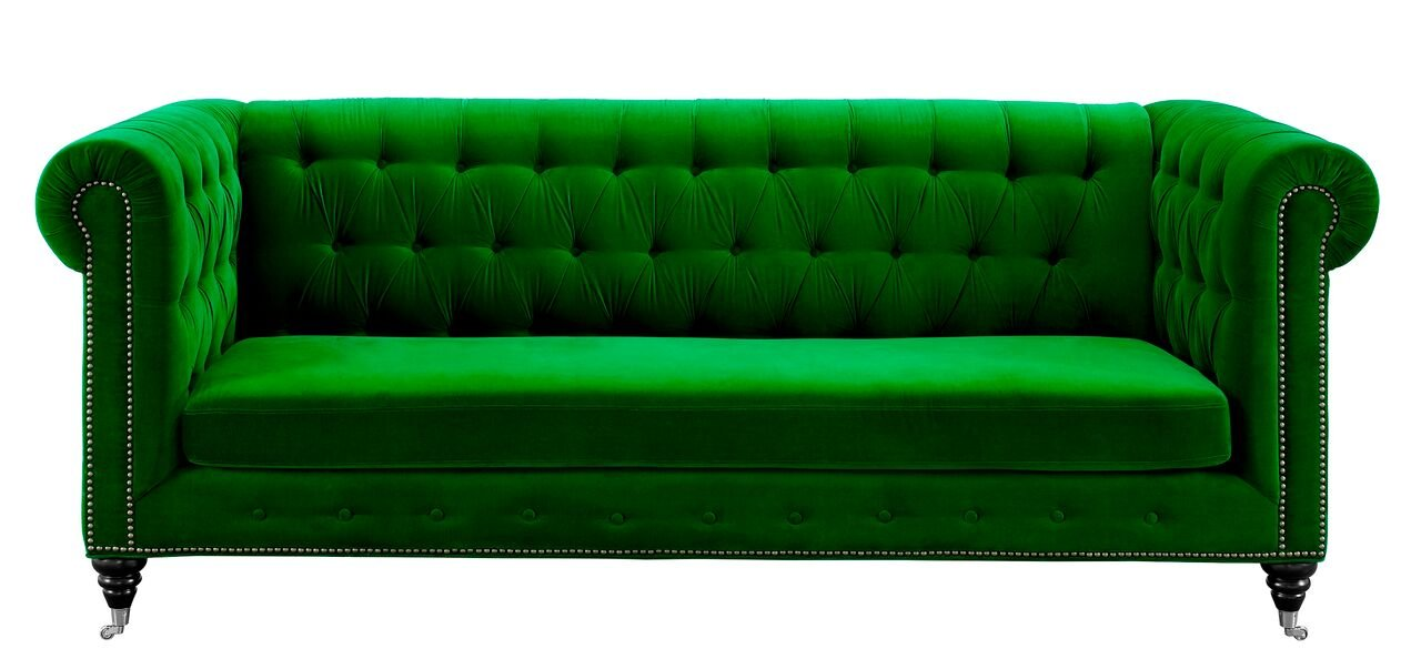 b4eb36f3d0ae5e Amazon.com: Tov Furniture The Hanny Collection Elegant Velvet Fabric  Upholstered Wood Living Room Sofa Couch, Green: Kitchen & Dining