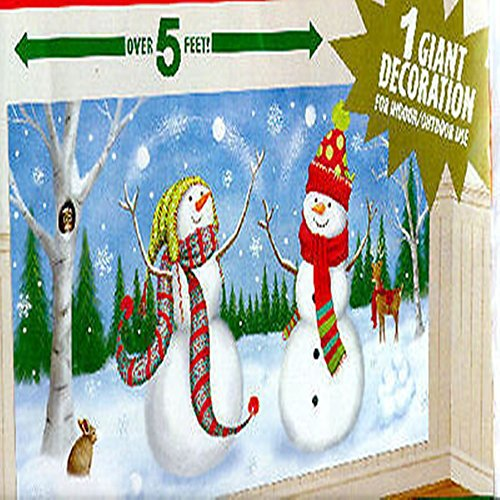 CHSGJY New Snowmen Juggling Scene Setter Christmas Holiday Party Wall Sticker Decor Kit 5