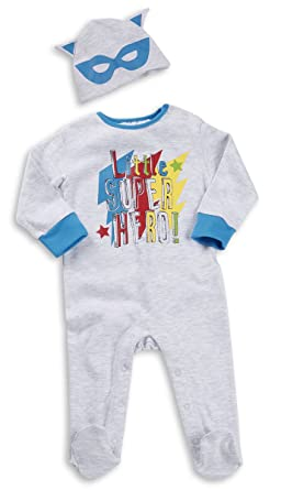 Babytown Baby Boy Sleepsuit Set Newborn Superhero with Cute Hat Cape 0-12 Months