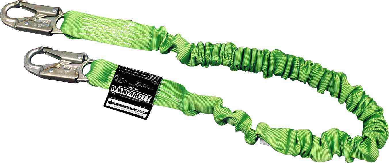 Miller by Honeywell 216M/6FTGN-SPA 6-Feet Manyard II Shock-Absorbing Stretchable Web Lanyard with 2 Locking Snap Hooks and Spanish Label, Green