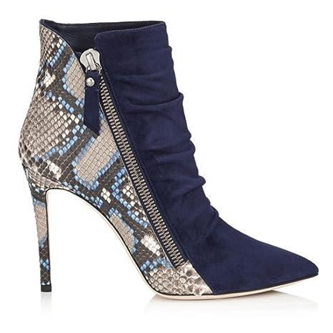 Lady tacón alto impermeable botas Botas de invierno de otoño Botines de remache Botas de trabajo