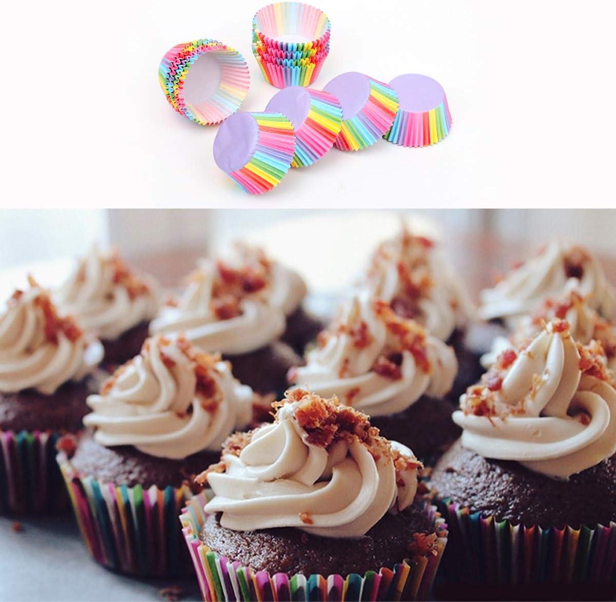 Arco/íris Moldes de Papel para Magdalenas Cumplea/ños Bodas Fiesta 400 Papel para Cupcakes Cupcakes de Papel para Navidad Fiesta de Acci/ón de Gracias Rainbow Papel para Magdalenas Muffins