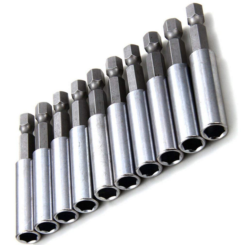 Delaman 10Pcs Magnetic Screwdriver Extension Socket Drill Bit Holder 1/4' Hex Power Tools