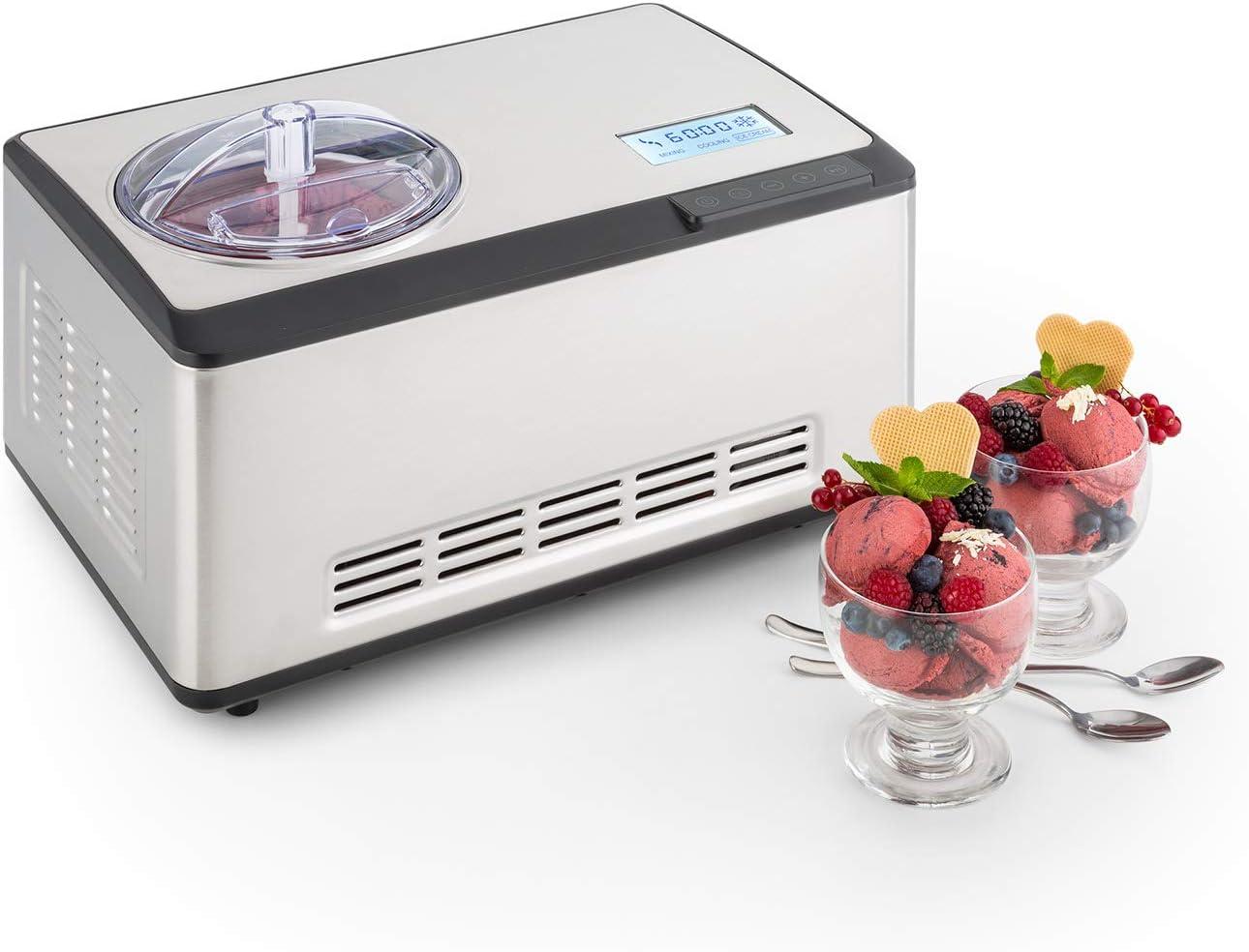 Klarstein Dolce Bacio Heladera /• M/áquina para hacer helado /• Heladera de compresi/ón /• Helados yogures /• Envase t/érmico de 2L /• Pantalla LCD t/áctil /• Temporizador /• Acero inoxidable /& sorbetes