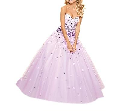 Dearta Womens Ball Gown Sweetheart Floor-Length Prom Dresses US 2 Light Lilac