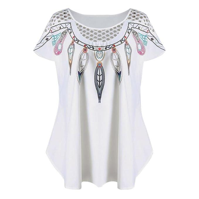 Happy-day Blusas para Mujer, Camiseta de Manga Corta Hueca Casual para Mujer Camiseta de Impresión Superior Hueca con Pluma, Blanco: Amazon.es: Ropa y ...