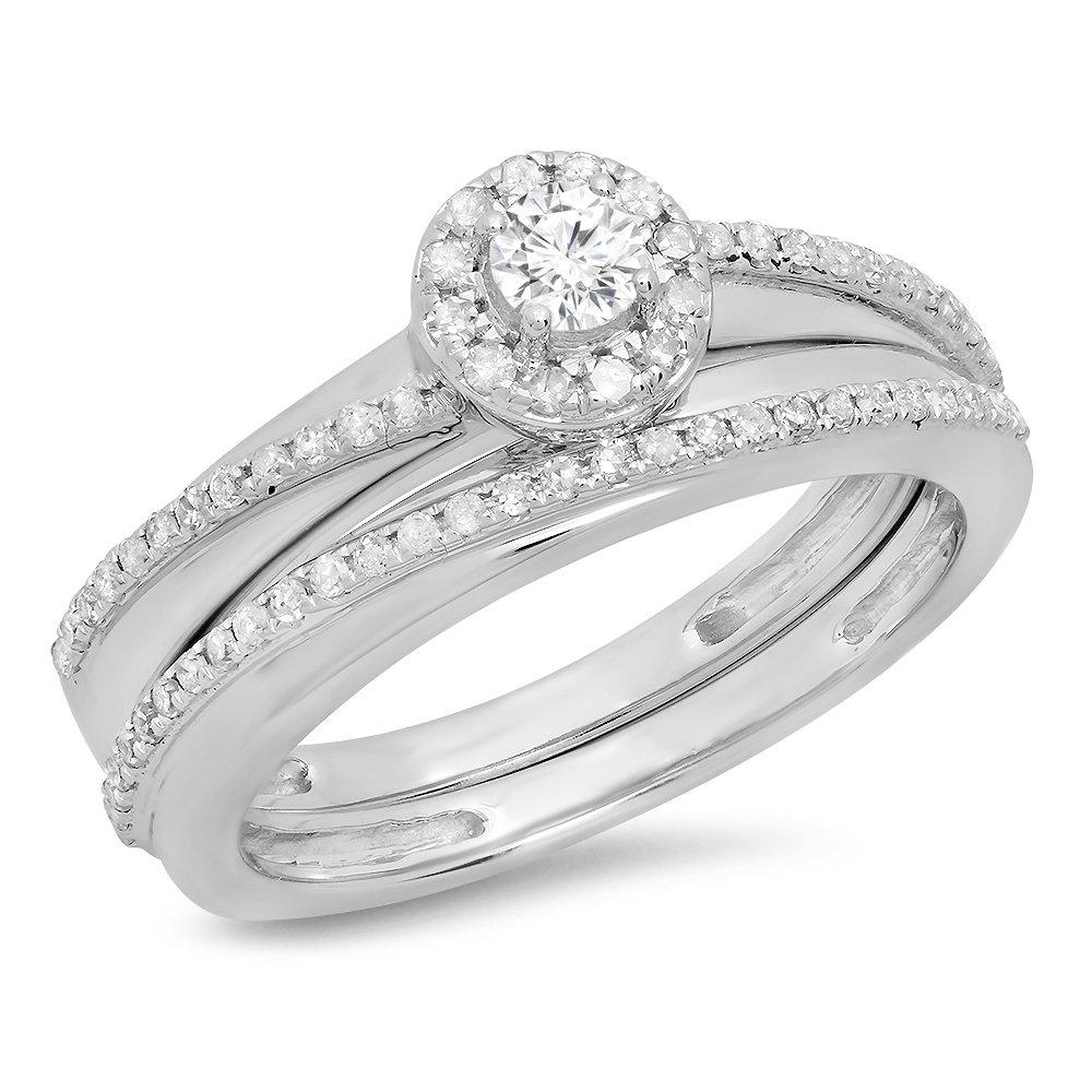 0.45 Carat (ctw) 10K White Gold Round Diamond Bridal Halo Style Engagement Ring Set 1/2 CT (Size 7)