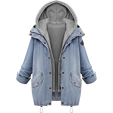 MCYs Damen Denim Übergröße Mantel Mit Kapuze Jacke Einfarbig Lange Ärmel  Herbst Warme Winter Kapuzenpullover Mode 463d32198f