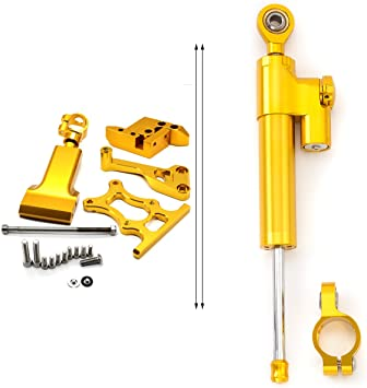FXCNC Racing Motorcycle CNC Steering Damper Stabilizer Buffer Control Bar With Mounting Bracket Kit Full Set Fit For Yamaha YZF R1 1998 1999 2000 2001 2004