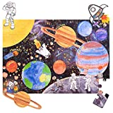 Amonev Solar System Big Floor Puzzle with Thick Jigsaw Puzzle Pieces which can Also be Used on a Table are Great Floor Puzzles for Kids Ages 4-8 Years and Older