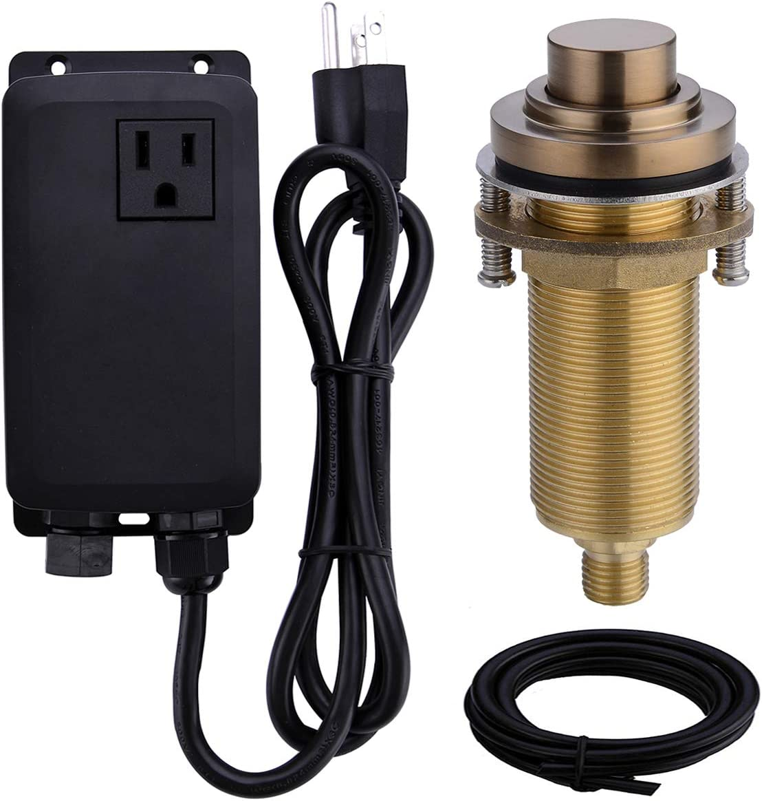SINKINGDOM SinkTop Air Switch Kit with Champagne Bronze Long Button (Full Brass) for Garbage Disposal, Single Outlet