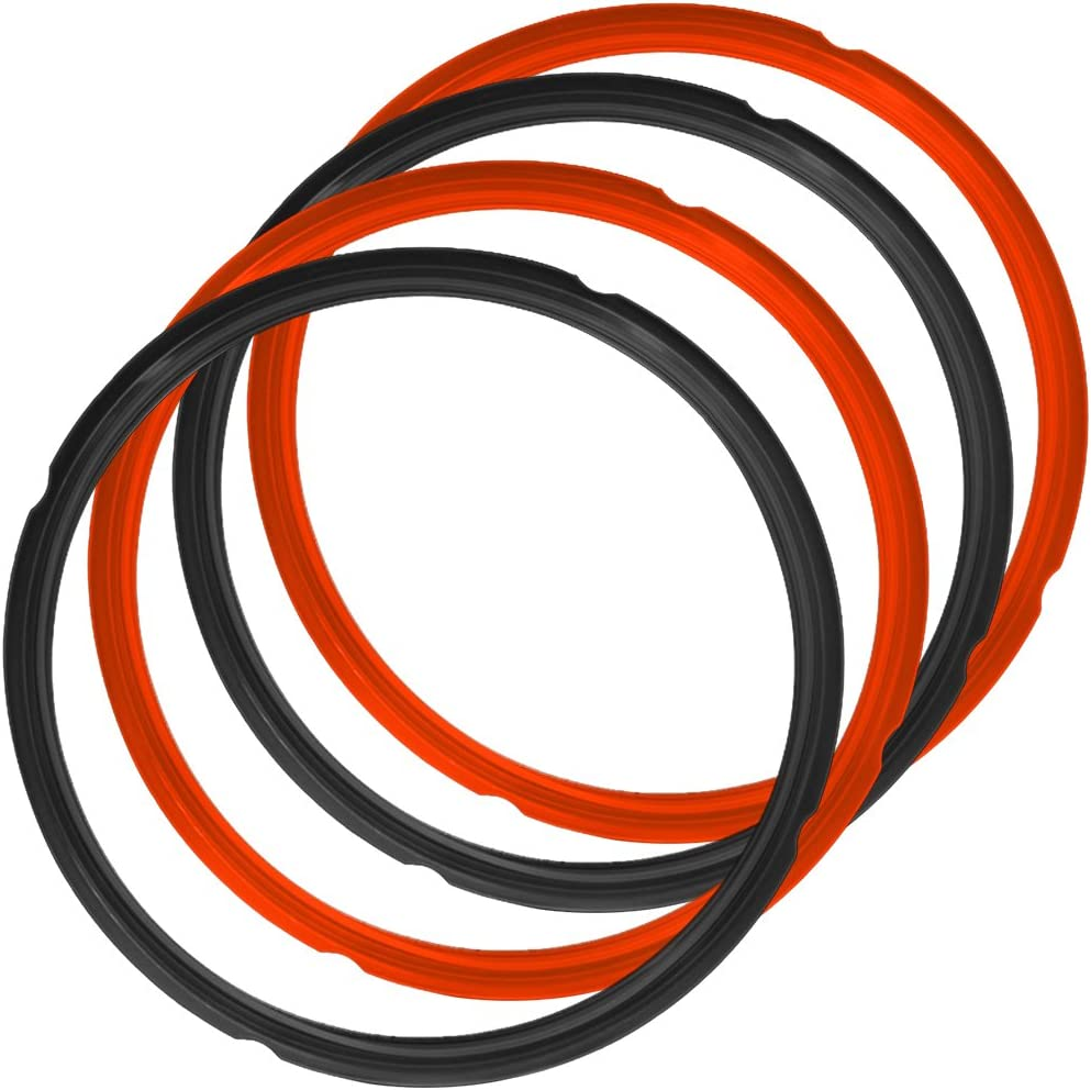 4 Pack Silicone Sealing Rings for Instant Pot, FineGood 2 Colors 5/6qt Size Sweet and Savory Edition Accessory for Pressure Cooker - Red, Black