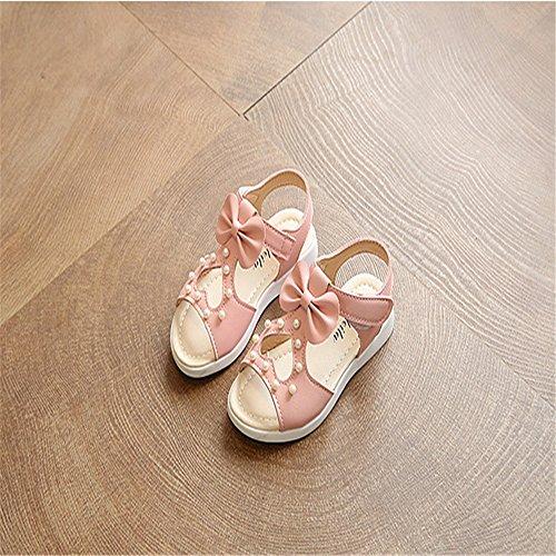 ZGSX Zapatos de las muchachas 2017 de los niños de las sandalias de zapatos de la princesa arco sandalias de velcro para niños Rosado