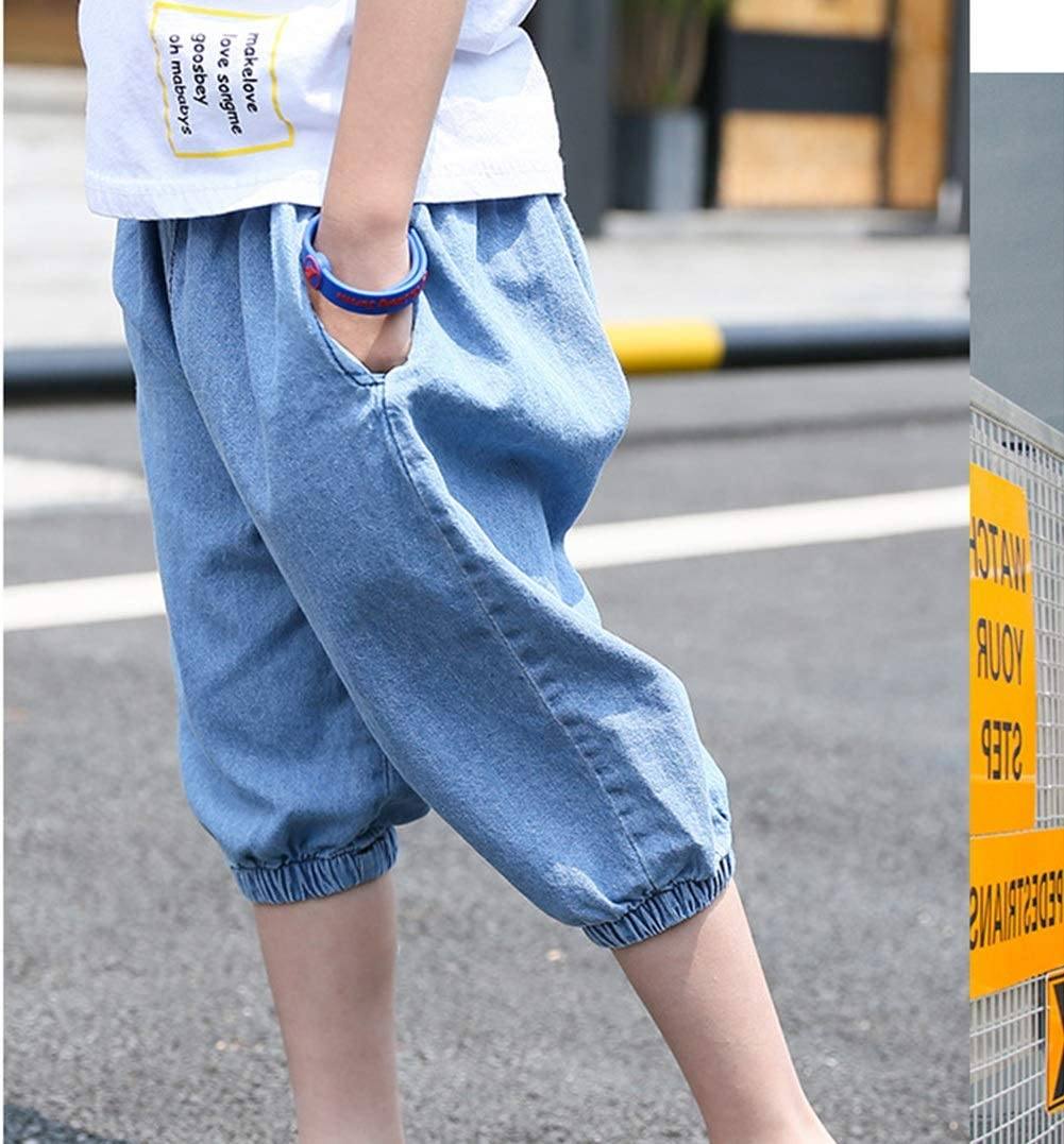 Color : Blue, Size : 140 MAOMAHREWW Little Boys Kids Jeans Loose Lantern Cropped Trousers Lounge Summer