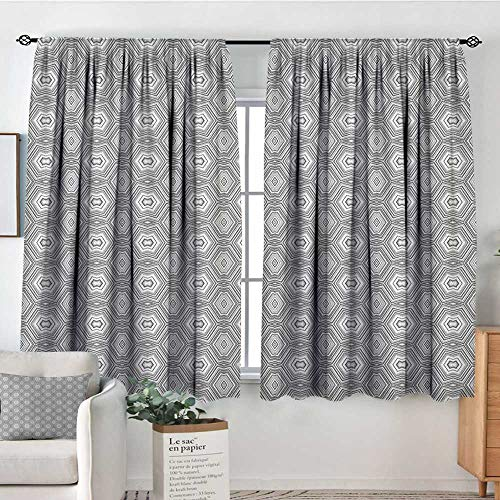 Theresa Dewey Customized Curtains Grey and White,Abstract Pattern with Lots of Angular Elements A Kaleidoscope of Forms, Grey and White,Wide Blackout Curtains, Keep Warm Draperies, Set of 2 55