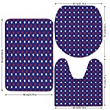 3 Piece Bathroom Mat Set,USA,United States of America Theme Federal Holiday Celebration Revolution Design Decorative,Dark Blue Red White,Bath Mat,Bathroom Carpet Rug,Non-Slip