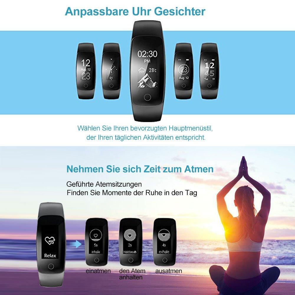 Nicksea Fitness Tracker Mit HR,Bluetooth 4.0 Und IP67 Wasserdicht  Fitnessarmband Mit Schlaf Monitor Kalorienzähler,Schrittzähler,SMS/Anrufe  Für IPhone ...