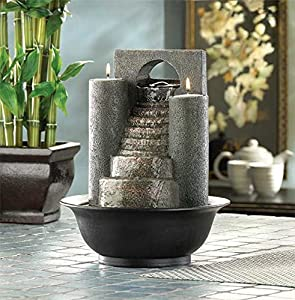 Tabletop Water Fountains Indoor Pump Waterfall With Candles Outdoor Home  Office Decorative