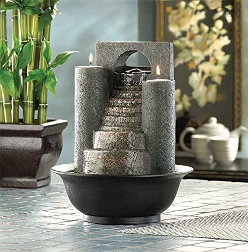 DecorDuke Tabletop Water Fountains Indoor Pump Waterfall with Candles Outdoor Home Office Decorative ()