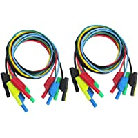 Blesiya 10Pcs 5 Colours 1M 4mm Banana to Banana Plug Soft Silicone Test Cable Lead for Multimeter